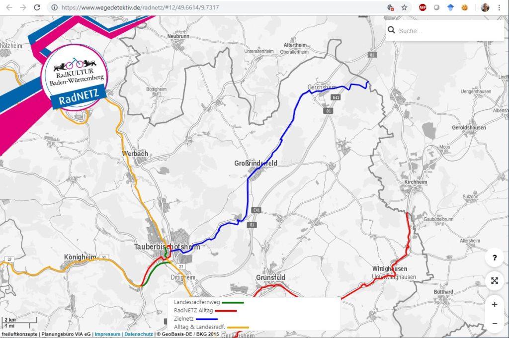 Geplanter Radweg TBB - Großrinderfeld bis Landesgrenze