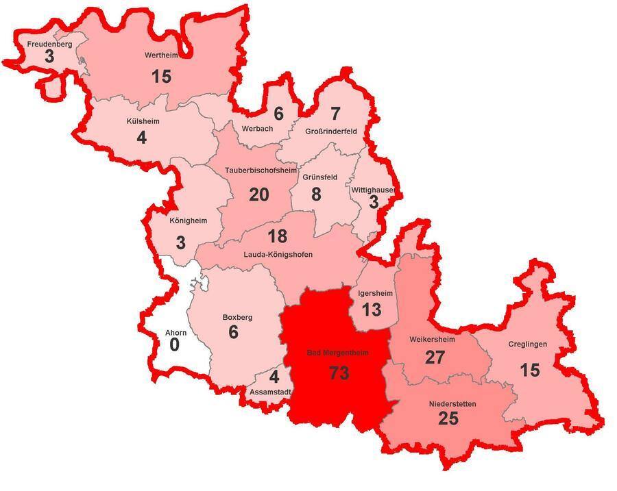 Coronavirus-Infektionen im Main-Tauber Kreis (Stand: 06.04.2020)