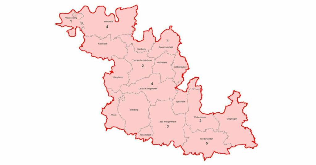 Karte mit aktiven Corona-Fällen im Main Tauber Kreis am 30.08.