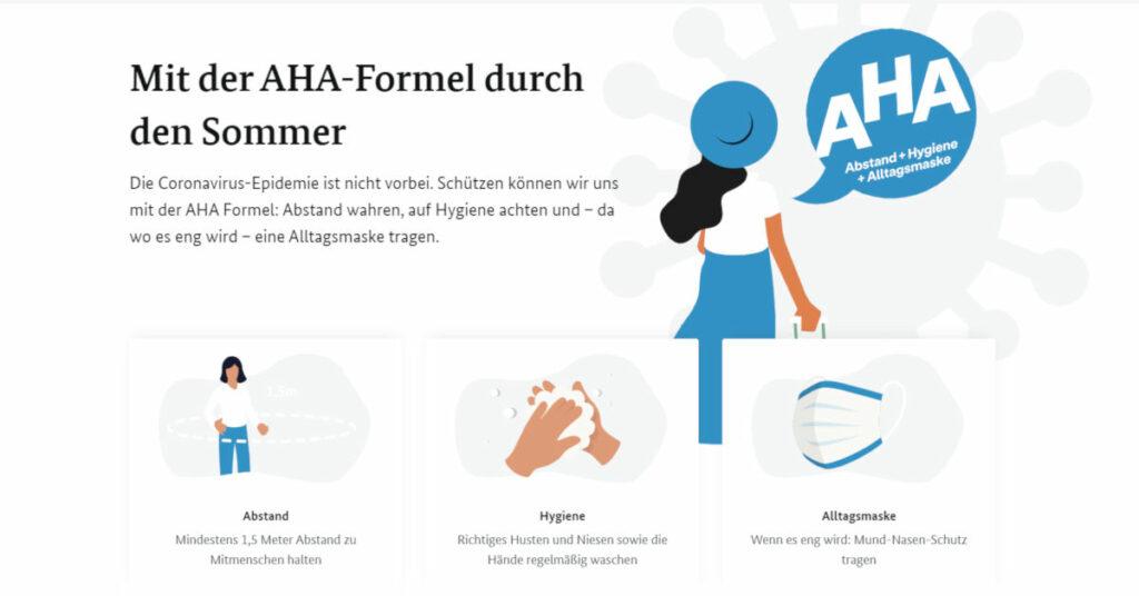 Grafik der AHA-Regel zum Schutz vor Corona