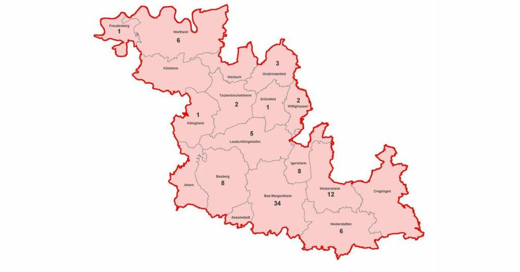 Karte mit aktiven Corona-Fällen im Main Tauber Kreis am 15.10.